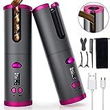 Fezax Automatischer Lockenstab, Kabelloser Locken Hair Curler, Mit 6 Temperatur-und...