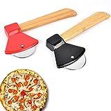 Pizzaschneider aus Edelstahl,2 Stücke Axt Pizzaschneider,Pizza Rad Messer,Küche Pizza...